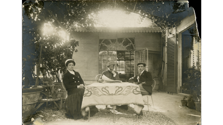 Giacomo Puccini with his wife Elvira and the son Antonio, in the garden of his villa at Torre del Lago villa, early 20th century