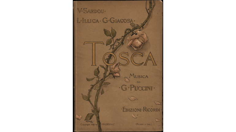 Tosca by Giacomo Puccini, cover of the libretto for the world premiere, 1900