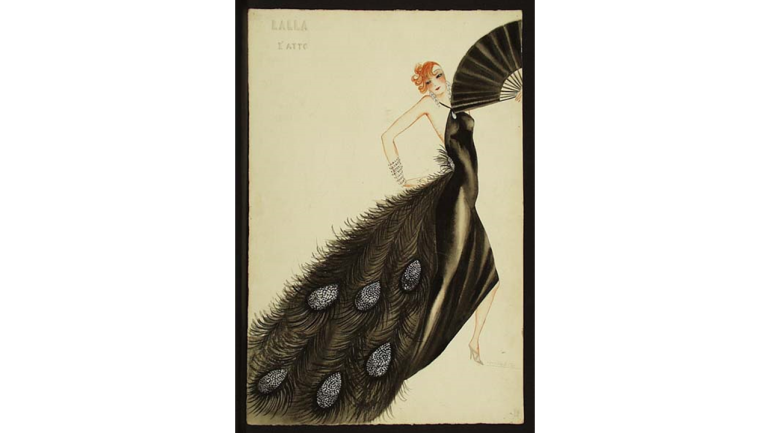Il favorito del re by Antonio Veretti, world premiere, Milan, Teatro alla Scala, 1932. Lalla, Act I, costume design by Titina Rota
