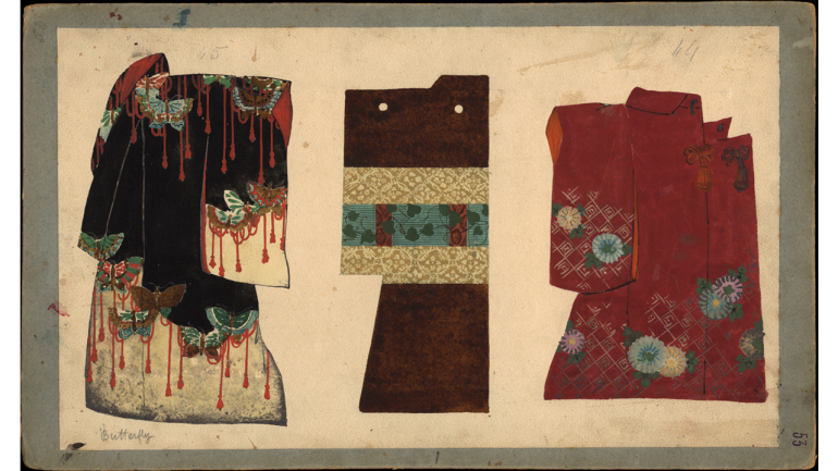 Madama Butterfly by Giacomo Puccini, world premiere, Milan, Teatro alla Scala, 1904. Three kimonos, prop design by Giuseppe Palanti