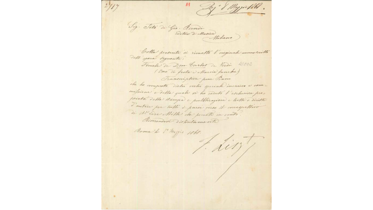 Letter from Franz Liszt to Tito I Ricordi, 1 May 1868
