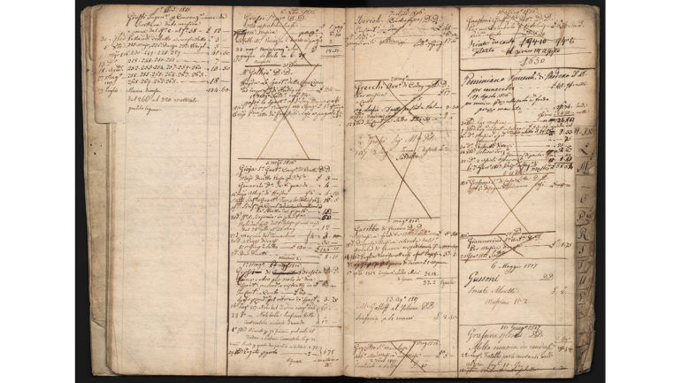 "Page of the so-called ""mastrino"" ledger, kept by Giovanni Ricordi, concerning years 1814-1816"