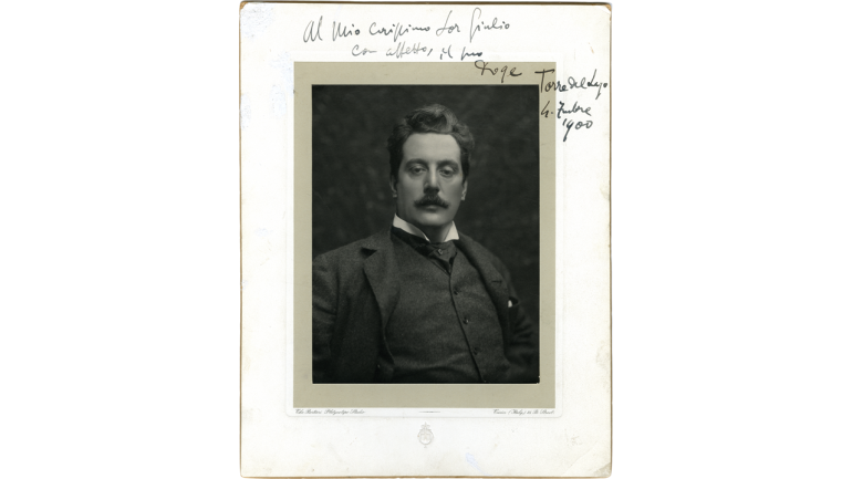 Giacomo Puccini, photograph with dedication to Giulio Ricordi, 1900