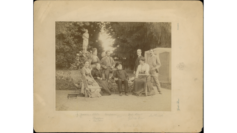 Garden of the villa in Sant'Agata, (from left, seated) Maria Carrara Verdi, Barberina Strepponi, Giuseppe Verdi, Giuditta Ricordi, (from left, standing) Teresa Stolz, Umberto Campanari, Giulio Ricordi, Leopoldo Metlicovitz, late 19th century