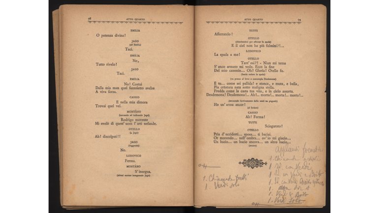 Detail of the libretto with annotations by Giulio Ricordi about the audience's reactions at the premiere of Otello by Giuseppe Verdi, 1887