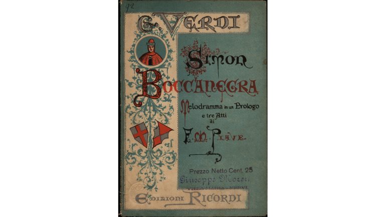 Simon Boccanegra by Giuseppe Verdi, cover of the libretto, second version, 1881