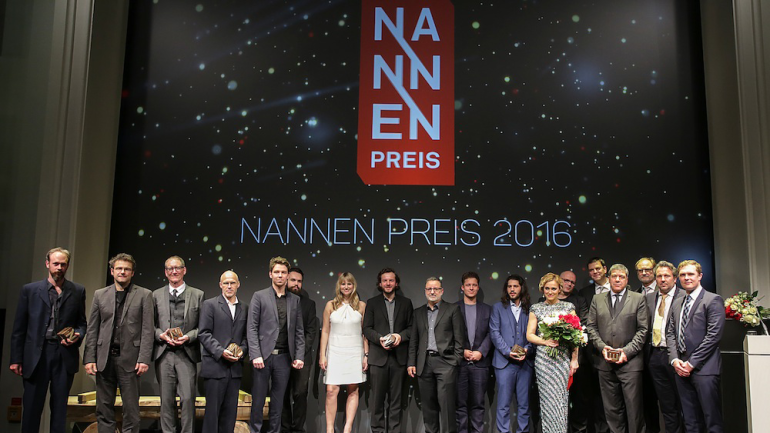 The winners of the Nannen Preis with Caren Miosga  © Perrey/Stern