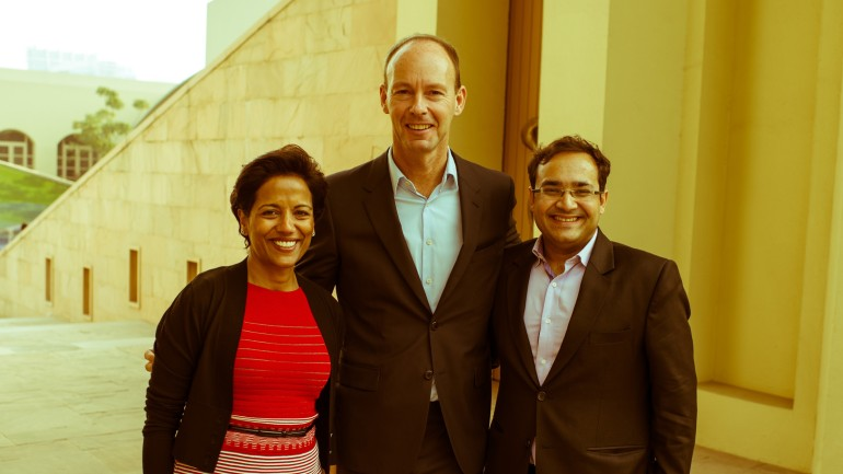Shobhna Mohn, Executive Vice President Emerging Markets at Bertelsmann with Thomas Rabe, Chairman and CEO of Bertelsmann and Pankaj Makkar, Managing Director of Bertelsmann India Investments