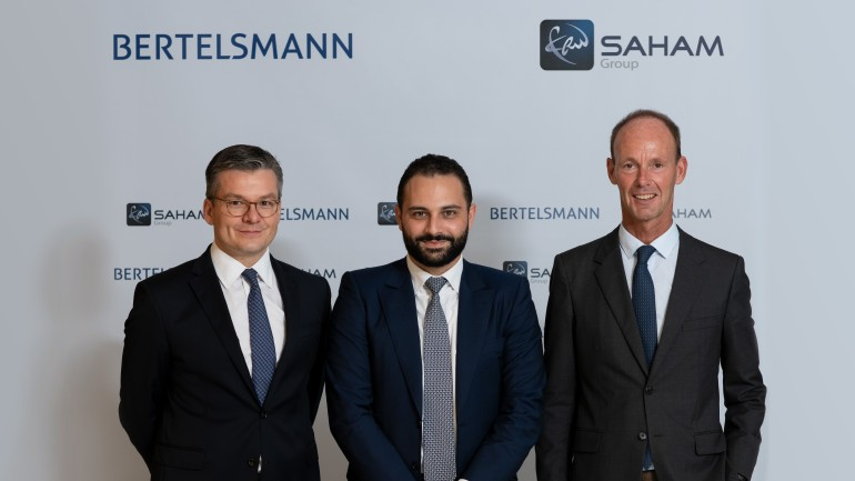 From the left: Thomas Mackenbrock (CEO Arvato CRM Solutions), Moulay Mhamed Elalamy (Spokesperson for Saham) and Thomas Rabe (Chairman & CEO of Bertelsmann).