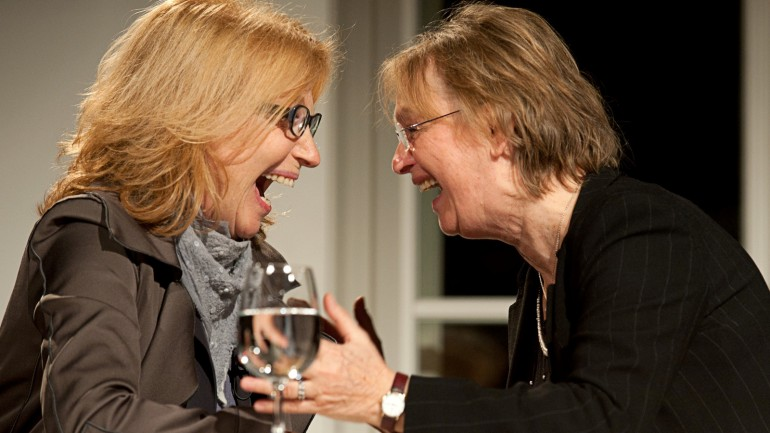 Author Elke Heidenreich and Actress Maren Kroymann during a book presentation in 2011