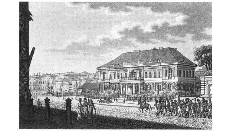 "F. H. Calau: ""The City Commandant's Headquarters on Zeughaus-Platz,"" aquatint, 1815"