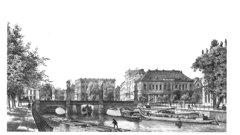 "F. A. Borchel: ""Die Schlossbrücke"" (on right, next to the bridge: the City Commandant's Headquarters), around 1850"