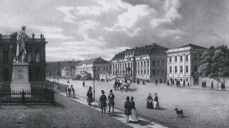"Ludwig E. Lütke: ""The King's Palace in Berlin"" (on the left: the City Commandant's Headquarters), lithograph, around 1850"