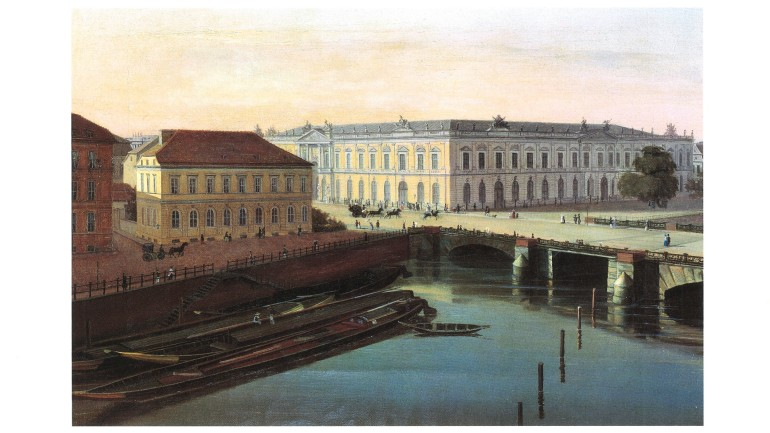 Unknown artist: View from the palace to the City Commandant's Headquarters (on the left) and the Zeughaus, around 1850