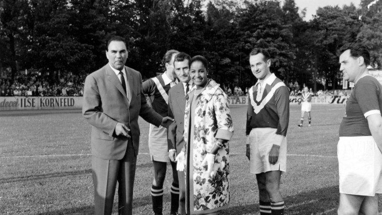 Ariola Sports festival, May 1956 with celebrities: Max Schmäling, Mona Baptiste, Reinhard Mohn and Fritz Walther.